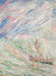 J. ENSOR, le Christ apaisant la tempête-Christus bedaart de storm, 1906